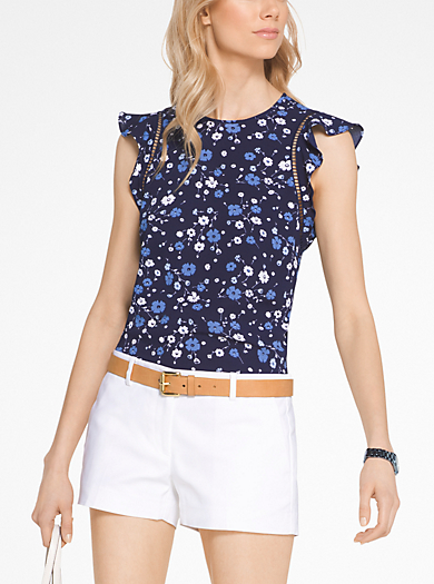 Floral Ruffled Blouse by Michael Kors
