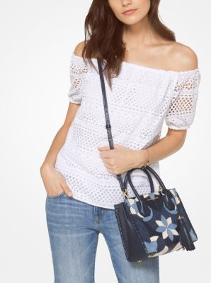 Eyelet Cotton Off-The-Shoulder Top by Michael Kors