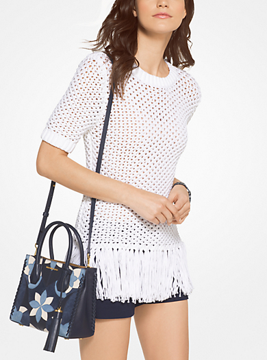 Fringed Cotton-Blend Knit Pullover by Michael Kors