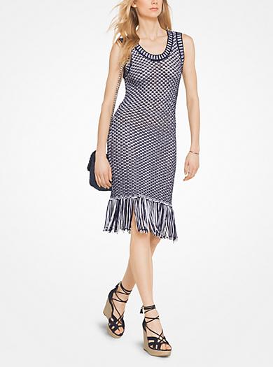 Fringed Cotton-Blend Knit Dress by Michael Kors