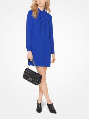 마이클 마이클 코어스 Michael Michael Kors Ruffled Silk-Georgette Shirtdress,ROYAL
