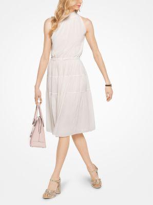 Smocked Chiffon Halter Dress by Michael Kors