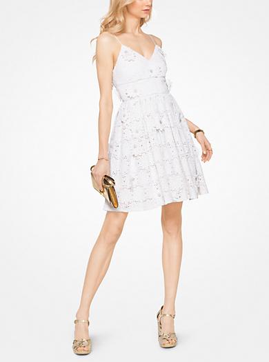 Floral Appliqué Lace Cotton Dress by Michael Kors
