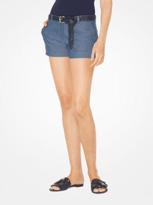 마이클 마이클 코어스 데님 반바지 Michael Michael Kors Stretch-Denim Shorts,DK CHAMBRAY