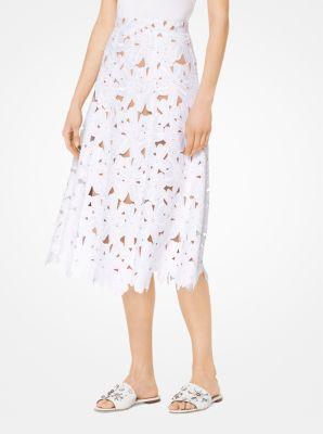 마이클 마이클 코어스 Michael Michael Kors Floral Lace Skirt,WHITE