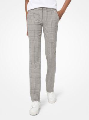 마이클 마이클 코어스 바지 Michael Michael Kors Glen Plaid Stretch-Wool Trousers,BONE