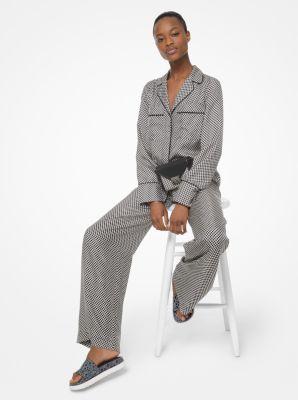 마이클 마이클 코어스 바지 Michael Michael Kors Checkerboard Logo Silk-Twill Pajama Pants,BLACK/BONE
