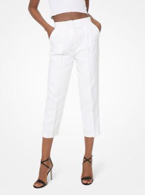 마이클 마이클 코어스 긴바지 Michael Michael Kors Washed Linen Cropped Trousers,WHITE