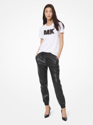 마이클 마이클 코어스 조거팬츠 Michael Michael Kors Faux Leather Joggers,BLACK
