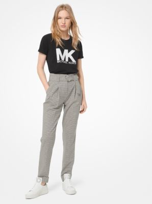 마이클 마이클 코어스 체크 스트레치 울 팬츠 (윤아 착용) Michael Michael Kors Tattersall Stretch-Wool Belted Trousers,BONE