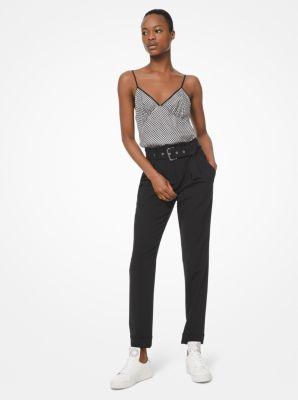 마이클 마이클 코어스 바지 Michael Michael Kors Stretch-Wool Belted Trousers,BLACK
