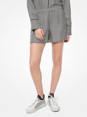 마이클 마이클 코어스 Michael Michael Kors Checkerboard Logo Silk-Twill Pajama Shorts,BLACK/BONE