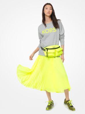 마이클 마이클 코어스 Michael Michael Kors Neon Logo Print Cotton-Terry Sweatshirt,ACID YELLOW