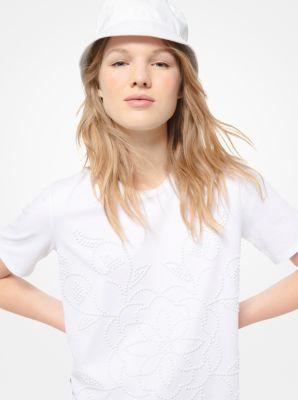 마이클 마이클 코어스 스터드 코튼 저지 반팔티 Michael Michael Kors Floral Medallion Studded Cotton-Jersey T-Shirt,WHITE