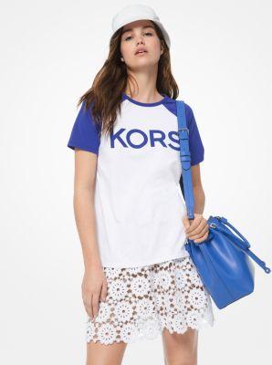 마이클 마이클 코어스 티셔츠 Michael Michael Kors Logo Cotton-Jersey Baseball T-Shirt