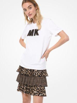 마이클 마이클 코어스 반팔티 Michael Michael Kors Embellished Logo Cotton-Jersey T-Shirt,WHITE