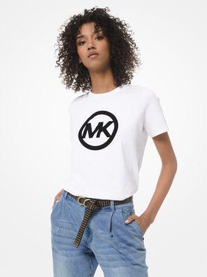 마이클 마이클 코어스 반팔티 Michael Michael Kors Velvet Logo Cotton-Jersey T-Shirt,WHITE