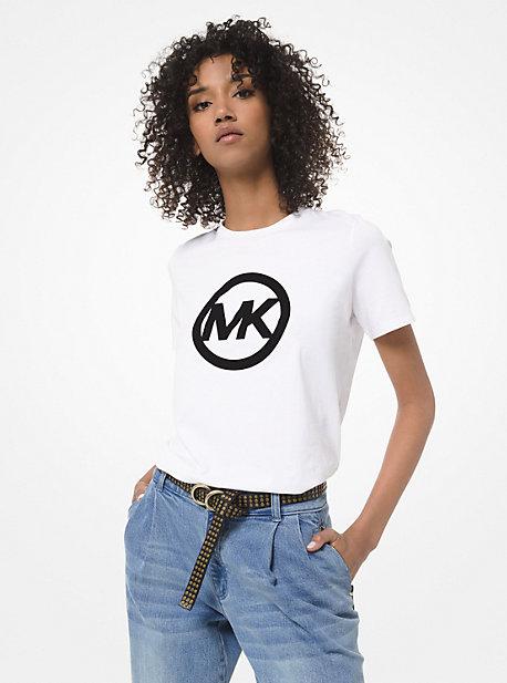 MK T-shirt en jersey de coton à logo en velours - BLANC(BLANC) - Michael Kors