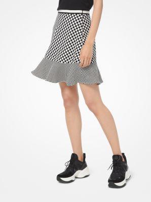 마이클 마이클 코어스 Michael Michael Kors Mixed Checkerboard Cady Flounce Skirt,BONE/BLACK