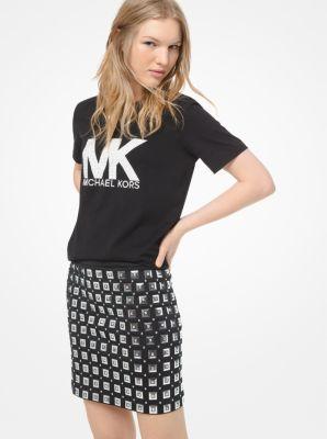 마이클 마이클 코어스 Michael Michael Kors Mirror Embellished Scuba Skirt,BLACK