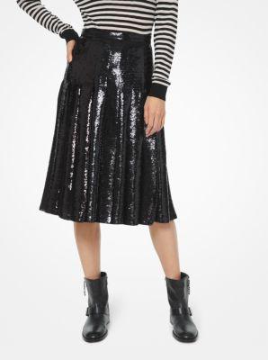 마이클 마이클 코어스 Michael Michael Kors Sequined Georgette Pleated Skirt,BLACK