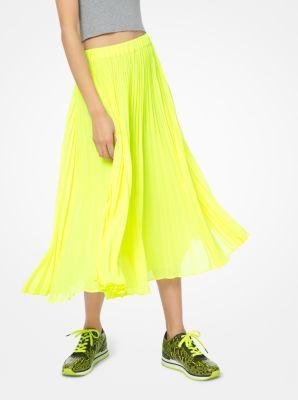 마이클 마이클 코어스 Michael Michael Kors Georgette Pleated Skirt,ACID YELLOW