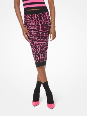마이클 마이클 코어스 Michael Michael Kors Neon Newsprint Logo Stretch-Viscose Pencil Skirt,BLACK/NEON PINK