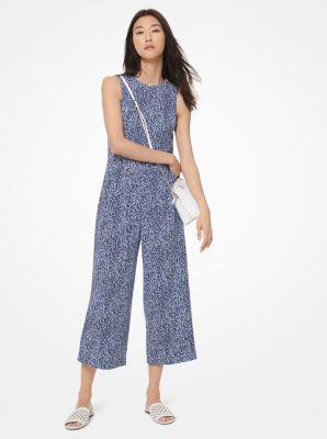 마이클 마이클 코어스 Michael Michael Kors Mini Ikat-Print Crepe Belted Jumpsuit,SHORE BLUE