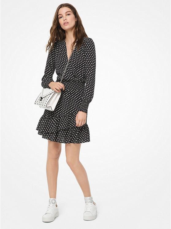 Dot Crepe Ruffled Dress | Michael Kors