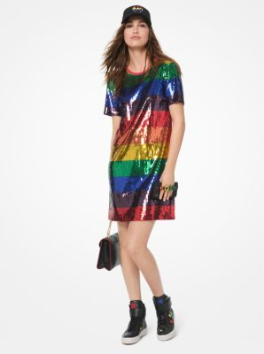 마이클 마이클 코어스 레인보우 시퀸 티셔츠 원피스 Michael Michael Kors Rainbow Sequined Cotton-Jersey T-Shirt Dress,RAINBOW