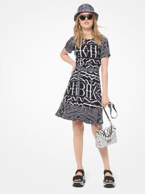 마이클 마이클 코어스 뉴스프린트 로고 벨트 원피스 Michael Michael Kors Newsprint Logo Belted Dress,BLACK/WHITE