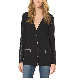 Leather-Accented Cardigan, Petite