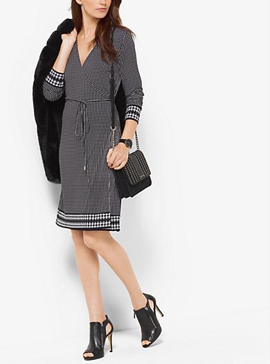 Printed Matte-Jersey Wrap Dress, Plus Size by Michael Kors