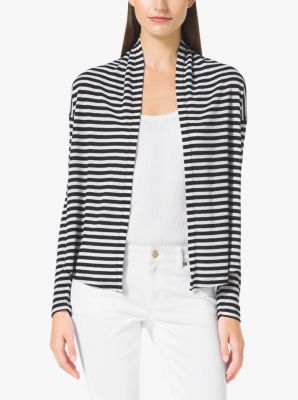 Striped Waffle-Knit Cardigan, Plus Size by Michael Kors