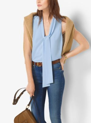 Sleeveless Tie-Neck Blouse, Plus Size by Michael Kors