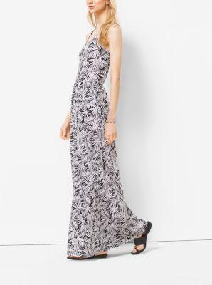 Palm-Print Matte Jersey Maxi Dress, Plus Size by Michael Kors