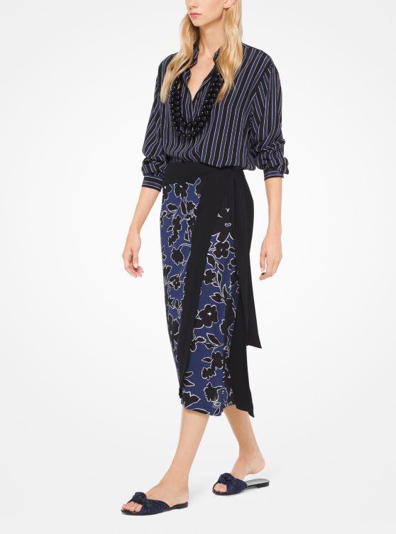 Floral Silk-Georgette Skirt