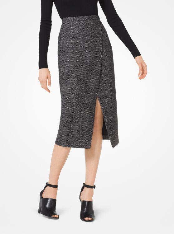 Herringbone Stretch Wool-Melton Scissor Skirt