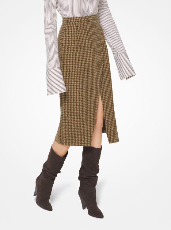 Houndstooth Shetland Wool-Blend Scissor Skirt