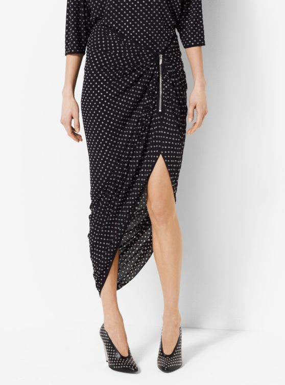 Grommeted Silk-Georgette Skirt