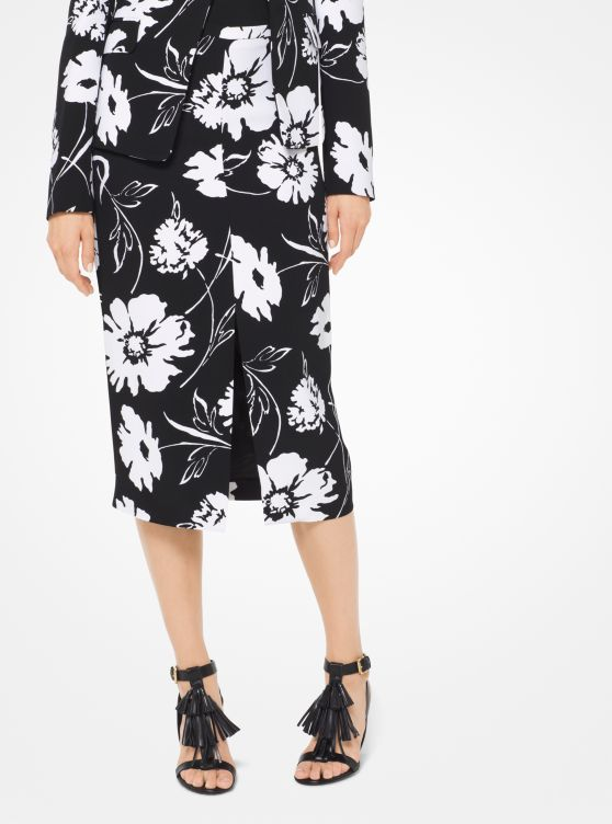 Floral Crepe-Cady Pencil Skirt
