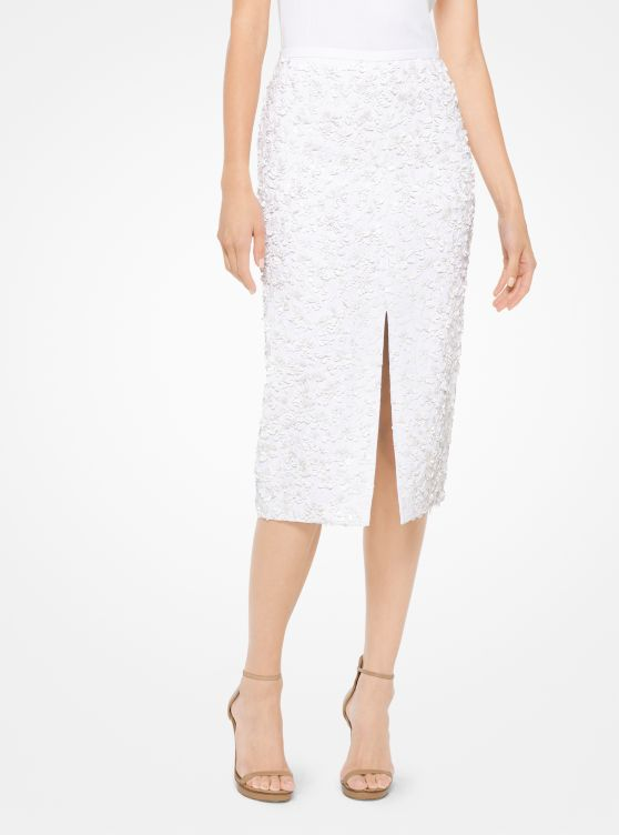 Floral Sequined Double Crepe-Sable Pencil Skirt