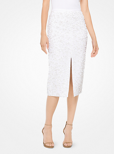 QUICKVIEW · michael kors collection · Floral Sequined Double Crepe-Sable  Pencil Skirt