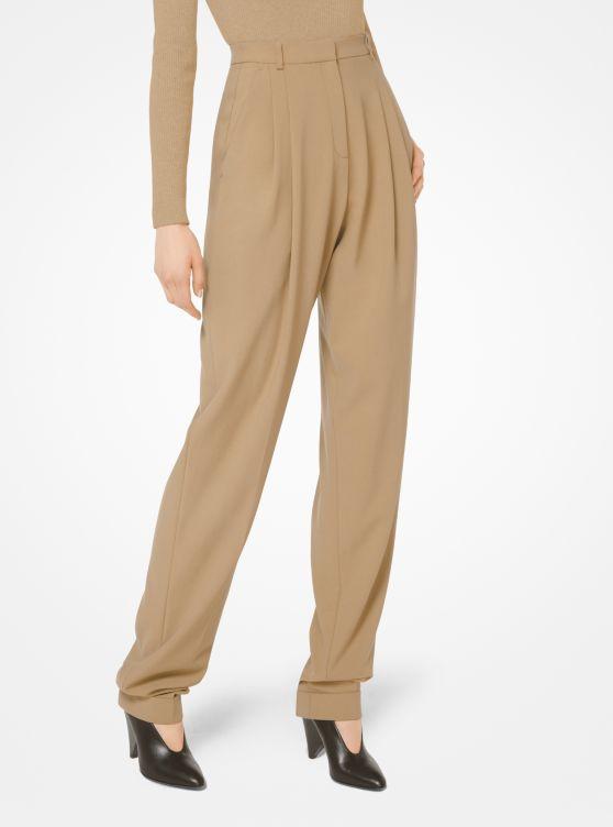 Wool-Serge Pleated Trousers