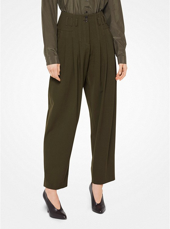 Wool-Serge Cropped Pants