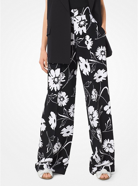 Graphic Floral Crepe-Cady Trousers