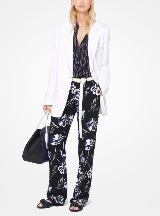 Floral Crepe-Cady Trousers