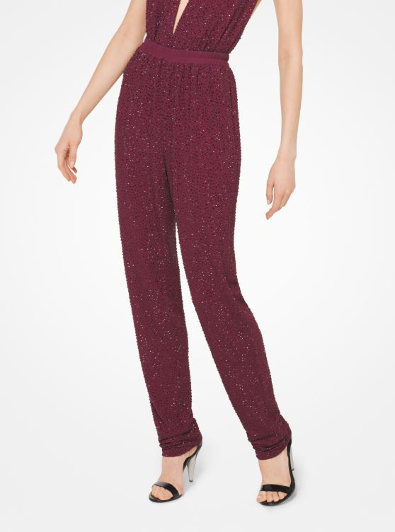 Crystal-Embroidered Matte-Jersey Pants