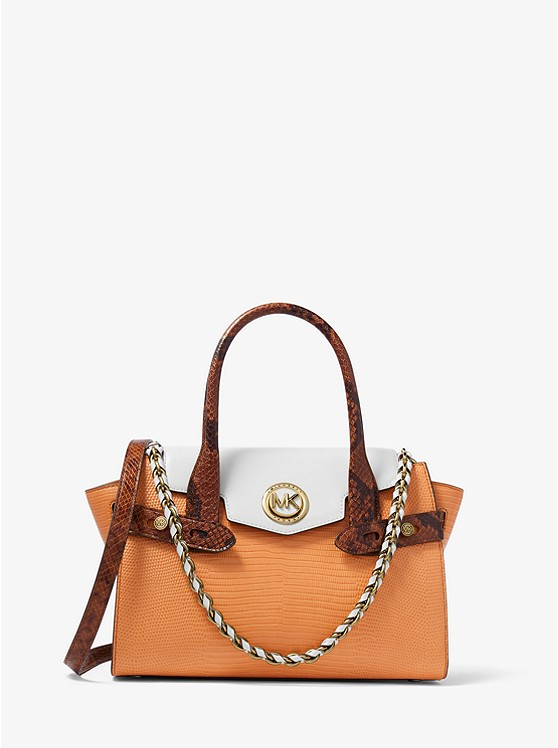 Carmen Small Color-Block Embossed Leather Belted Satchel CIDER MULTI