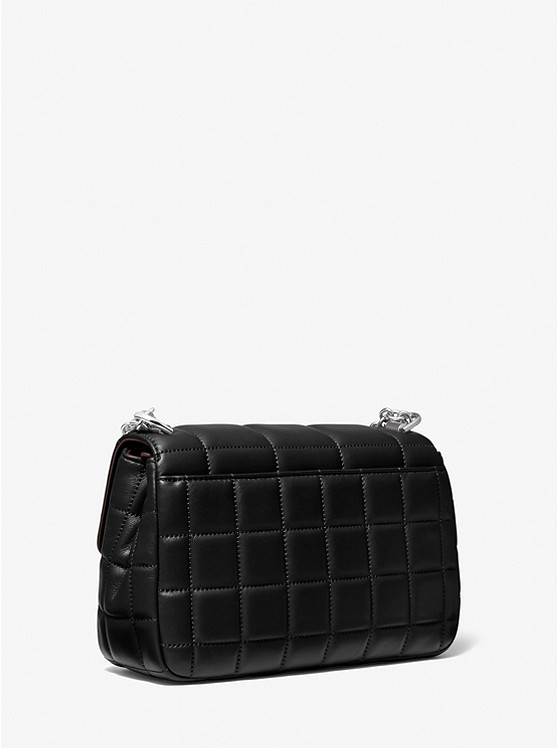 SoHo Large Quilted Leather Shoulder Bag BLACK